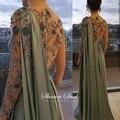 Арабский на одно плечо, оливково-зеленая мусульманское вечернее платье с накидкой для девочек одежда с длинным рукавом Дубай для женщин Сва...