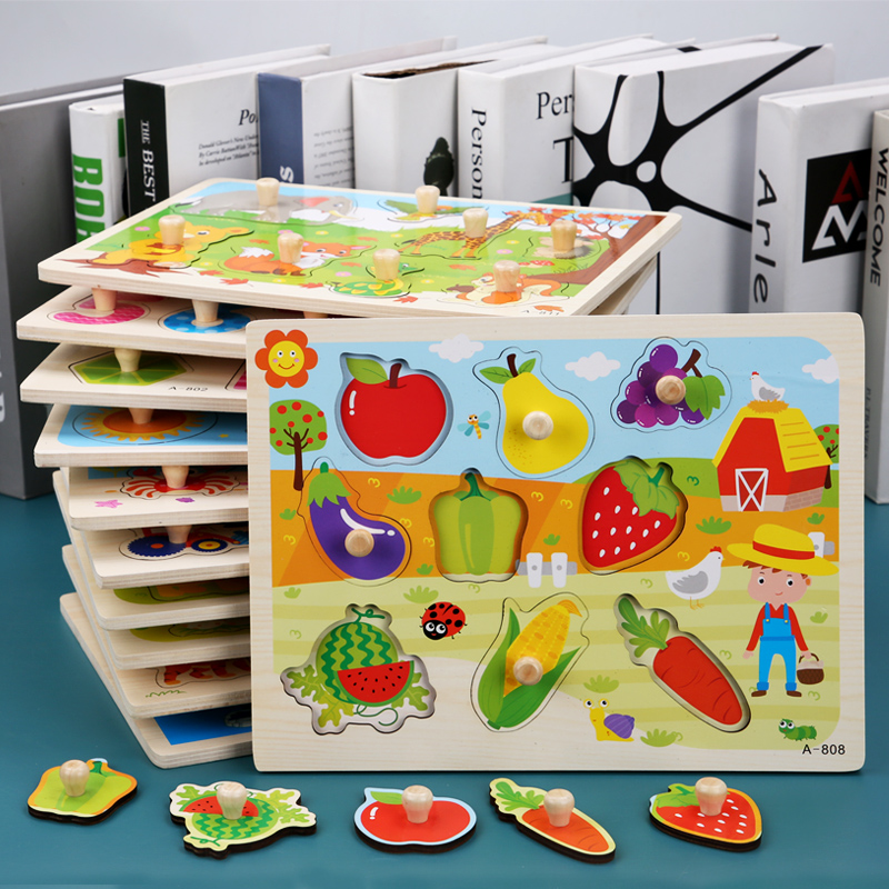Logwood Baby Toy Montessori Wooden Puzzle/Hand Grab Board Educational Wooden Toy Cartoon Vehicle/ Marine Animal Puzzle For Kids