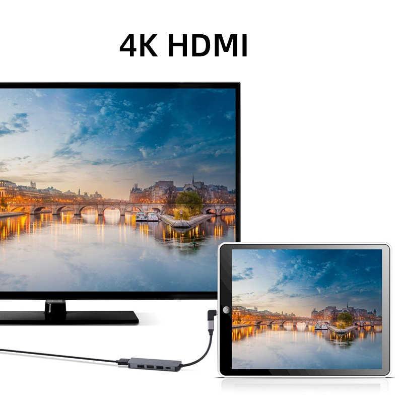 Typt-C Type C Hub USB C USB3.1 Hub met HDMI 5 in 1 Combo Hub met 2 USB3.0 poorten SD TF Kaartlezer USB Adapater
