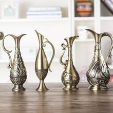 Florero de Metal Vintage europeo para decoración del hogar, arte Retro, artesanía, decoración de boda, adornos de mesa, jarrones de flores, clásico antiguo