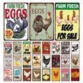 Свежие яйца-металлическая жестяная вывеска фермы магазин французское кафе молоко домашний декор для стен в винтажном стиле плакат Луженая ...