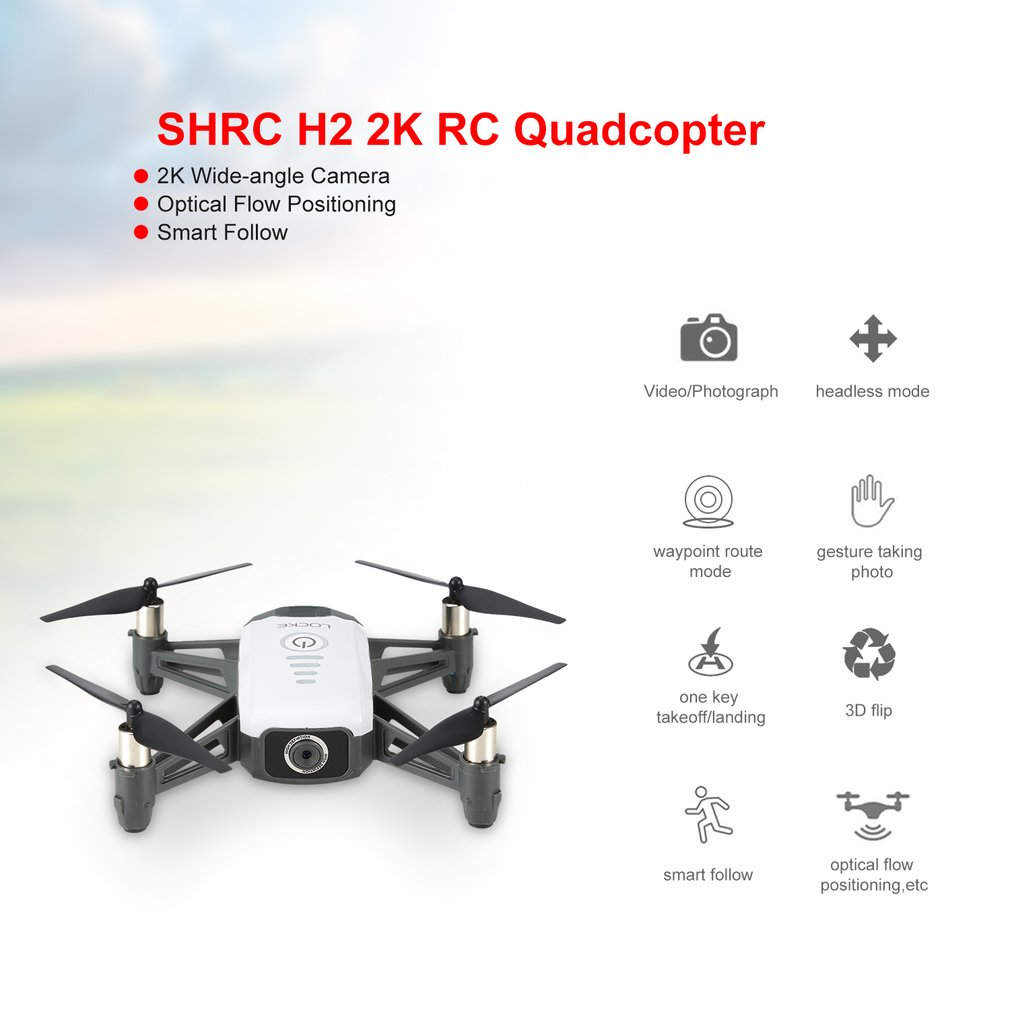 SHRC H2 WIFI 2K FPV RC Drone Optical Flow Positioning Smart Follow RTF Quadcopter RC Remote Control Helicopter Toy