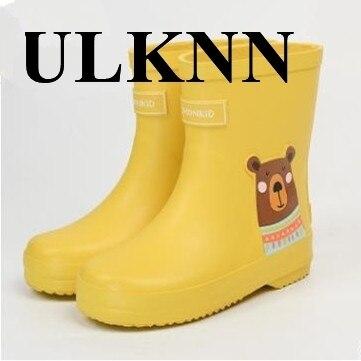 ULKNN bébé bottes de pluie pour enfants semelle en caoutchouc antidérapant enfants imperméable à leau dessin animé mignon chaussures garçon filles mode chaussures de pluie
