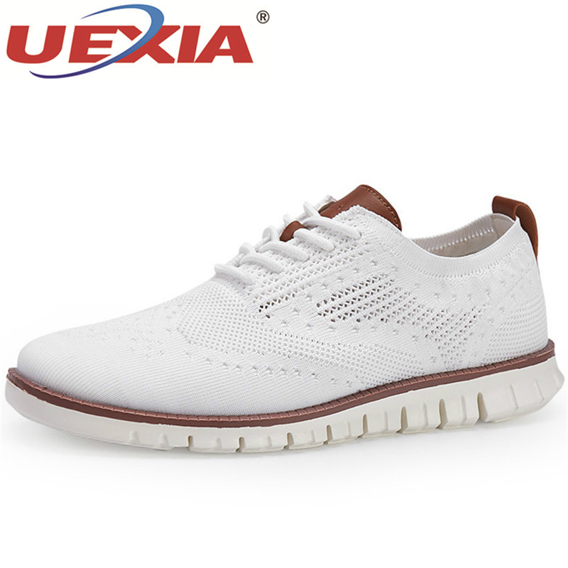2020 Fashion Brands Men's Shoes Lace Up Lightweight British Dress Footwear Hollow Breathable Knitted Mesh Flats Shoes Big Size