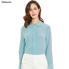 100% Natural Silk Blouses Women Autumn 2019 Long Sleeve Buttoned Down Elegant Blue Shirts Office Lady Cardigan Real Silk Tops drop shoulder pearl buttoned cardigan