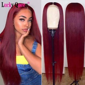 Perruque Lace Front wig brésilienne naturelle Remy-Lucky Queen | Cheveux lisses, couleur bordeaux ombré/99J, 13x6, pre-plucked, pour femmes africaines