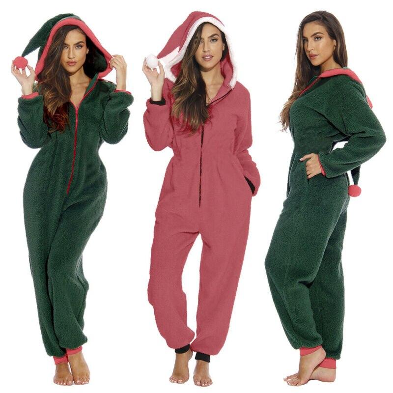 Nightwear Loose Romper Jumpsuit Pyjamas Femme Ladies Party Home Wear Christmas Pajamas Womens Santa Sleepwear Xmas Clothes