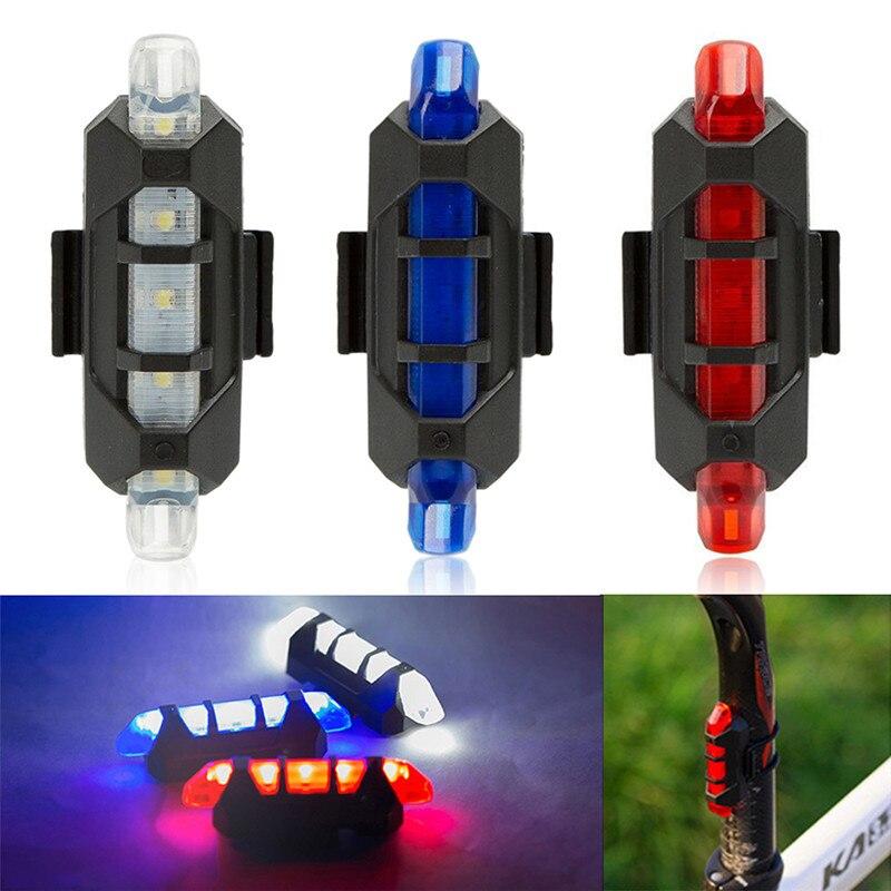 Riding Cycling MTB Warning Light Waterproof Taillight 5 LED USB Rechargeable Mountain Bike Safety Warning Light Rear Light