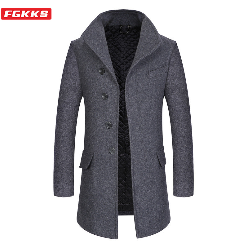 FGKKS Winter Brand Men Wool Blend Coats Men's Lapel Solid Color Casual Overcoat Thick Warm Long Section Wool Coat Male