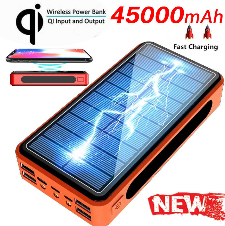 Neue 4USB qi wireless Power Bank 45000mAh Solar Mobile power Multifunktions Ladegerät led beleuchtung