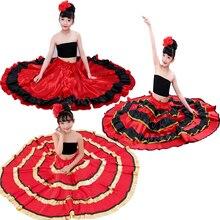 Цыганское Платье принцессы для девочек, костюмы для танца живота, традиционная испанская юбка для фламенко, атласное гладкое платье размера плюс