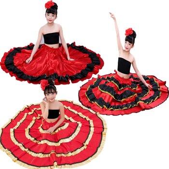 Gypsy Stile Principessa Delle Ragazze Costumi di Danza Del Ventre Spagnolo Tradizionale Flamenco Gonna di Raso Liscio Plus Size Pannello Esterno del Vestito