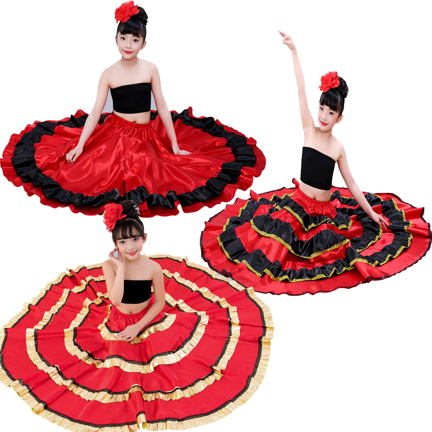 Gypsy Style Princess Girls Belly Dance Costumes Spanish Traditional Flamenco Skirt Satin Smooth Plus Size Swing Skirt Dress