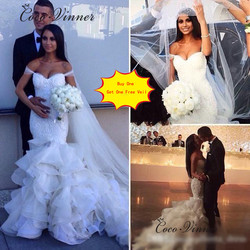 Stickerei Spitze Appliques Rüschen Meerjungfrau hochzeit Kleid 2020 Perle Perlen Cap Sleeve Weiß Hochzeit Kleid China Brautkleid W0322