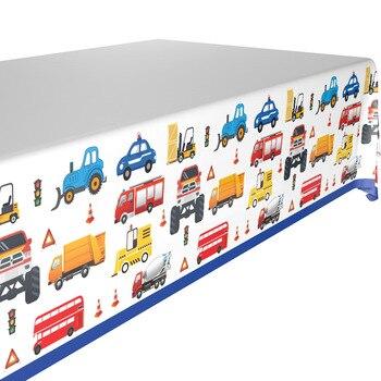 132*220cm samochodziki w stylu kreskówki obrus pojazd budowlany party jednorazowe obrus dla dzieci akcesoria na przyjęcie urodzinowe 1 sztuk