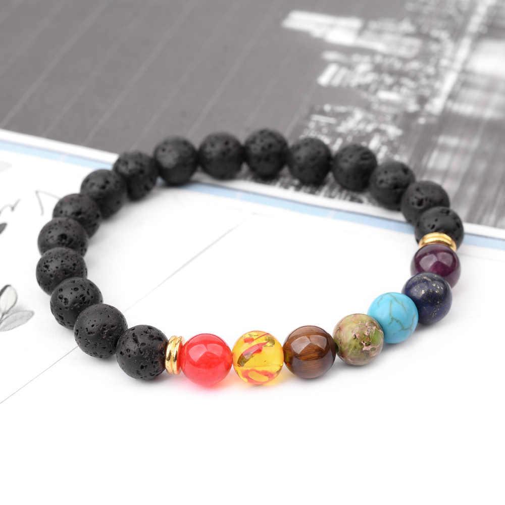 Рейки 7 чакра браслеты для мужчин и женщин черный Лава серебряный с натуральным камнем Будда молитва бусины терапевтическая Энергия исцеления браслет BC374