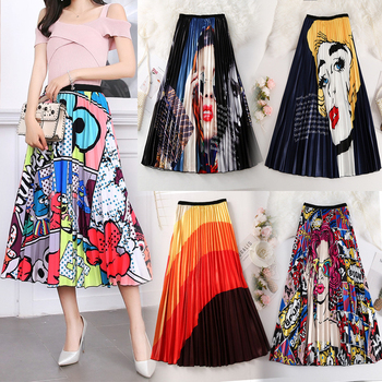 Fashion Pleated Midi Skirt Kawaii Cartoon Modern Print Harajuku Style Women Street High Waist Elastic Skirts Female