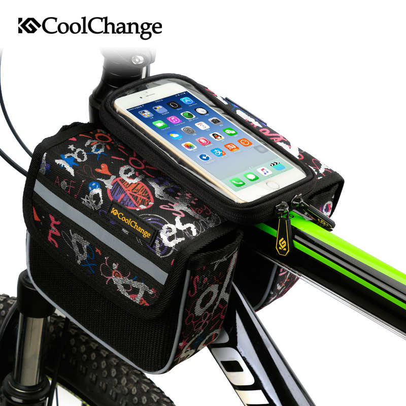 CoolChange High Quality Cycling <font><b>Bike</b></font> Front <font><b>Frame</b></font> <font><b>Bag</b></font> Tube Pannier Double Pouch for Cellphone <font><b>Bicycle</b></font> Accessories Riding <font><b>Bag</b></font> image
