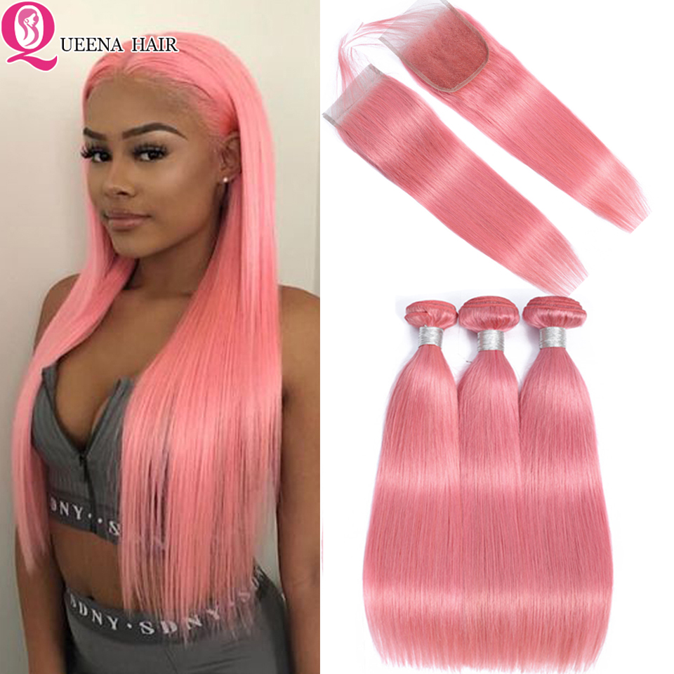 Queena Pink Bundles With Closure Peruvian Human Hair Bundles With Closure Remy Straight Hair Weave 4*4 Lace Closure With Bundles