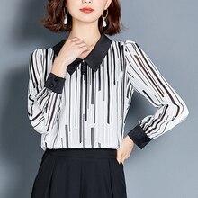 Korean Fashion Woman Chiffon Blouse Shirts Women Long Sleeve Stripe Shirt Plus Size Elegant Dot Blusas Mujer De Moda