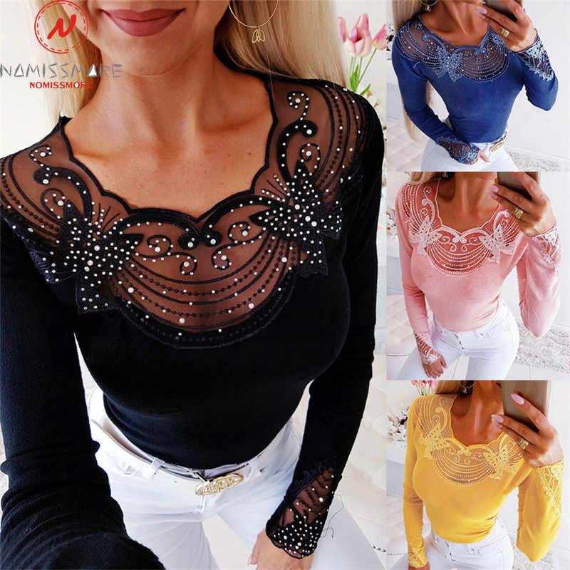 Camisetas de manga larga para mujer, diseño de retales, encaje, decoración de diamante, transparente, cuello redondo, Top liso, camisas elegantes de otoño para mujer