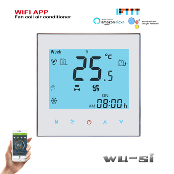 2PIPE fan coil unit thermostat WIFI TUYA ,Works with Alexa Google home wifi thermostat,24VAC 95-240VAC цена 2017