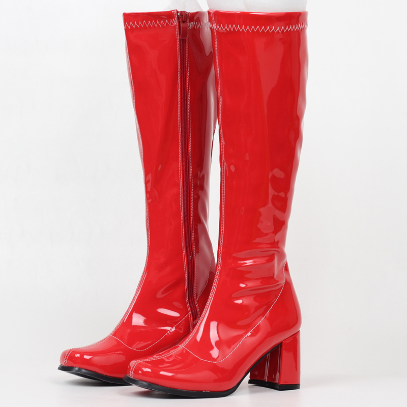 jialuowei Woman gogo Boots Square Heel Knee-High Classic Square Toe Boots PU Leather Zip Boots unisex Party Dress Dance Shoes