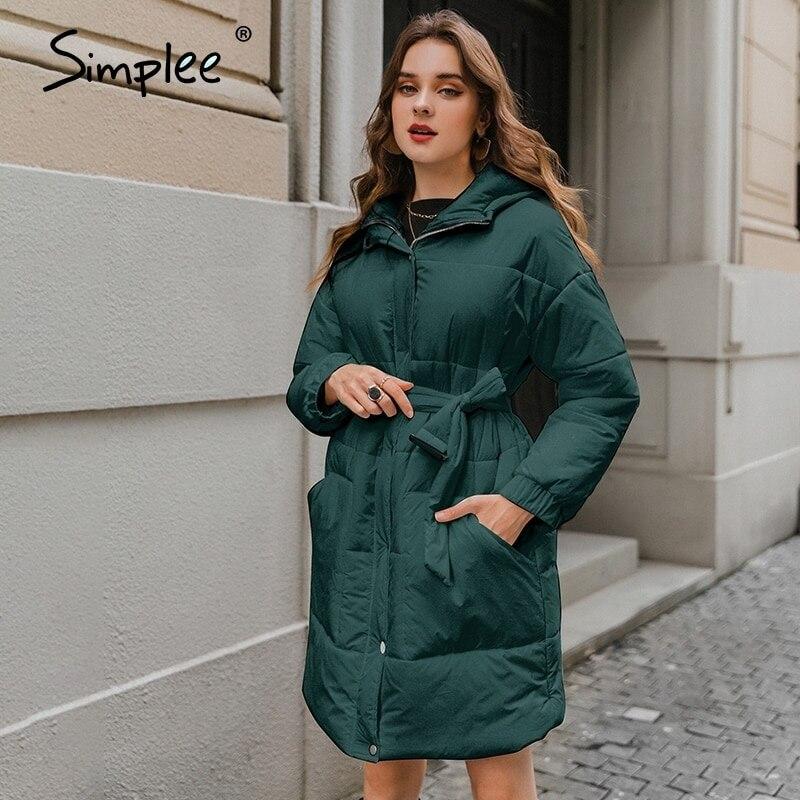 Simplee Fashion white waist band women winter coat Elegant v neck long cotton female parkas Causal warm coat with hat 2020|Parkas| - AliExpress