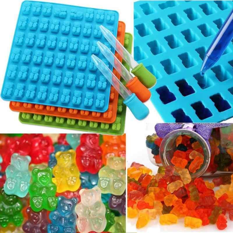 ซิลิโคน 3D Gummyหมีแม่พิมพ์สำหรับช็อกโกแลตลูกอมแม่พิมพ์และถาดน้ำแข็งตกแต่งเบเกอรี่เครื่องมือแม่พิมพ์เค้ก 1PC DIY 2019 แม่พิมพ์ครัว