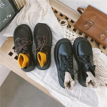 ¡Novedad de moda japonesa! Zapatos pequeños de encaje con suela gruesa, zapatos sencillos informales de estilo británico de tendencia, zapatos para mujer, A1-34 en oferta