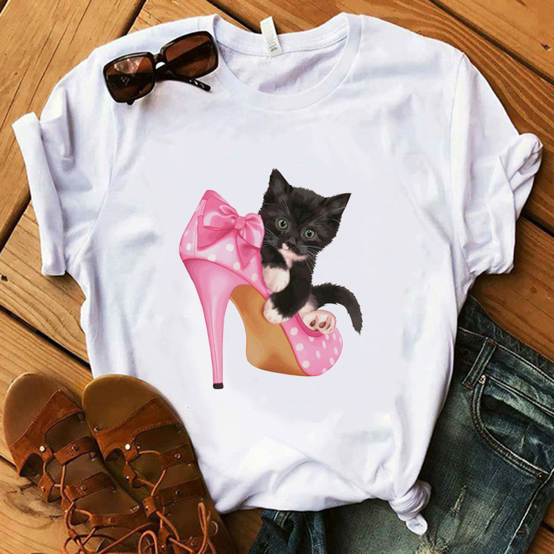 Paris Style T Shirt Women 100% Cotton Summer Shirt Lady Floral Earring Pink High Heel Cat Tops Gift Harajuku Luxury T-shirt