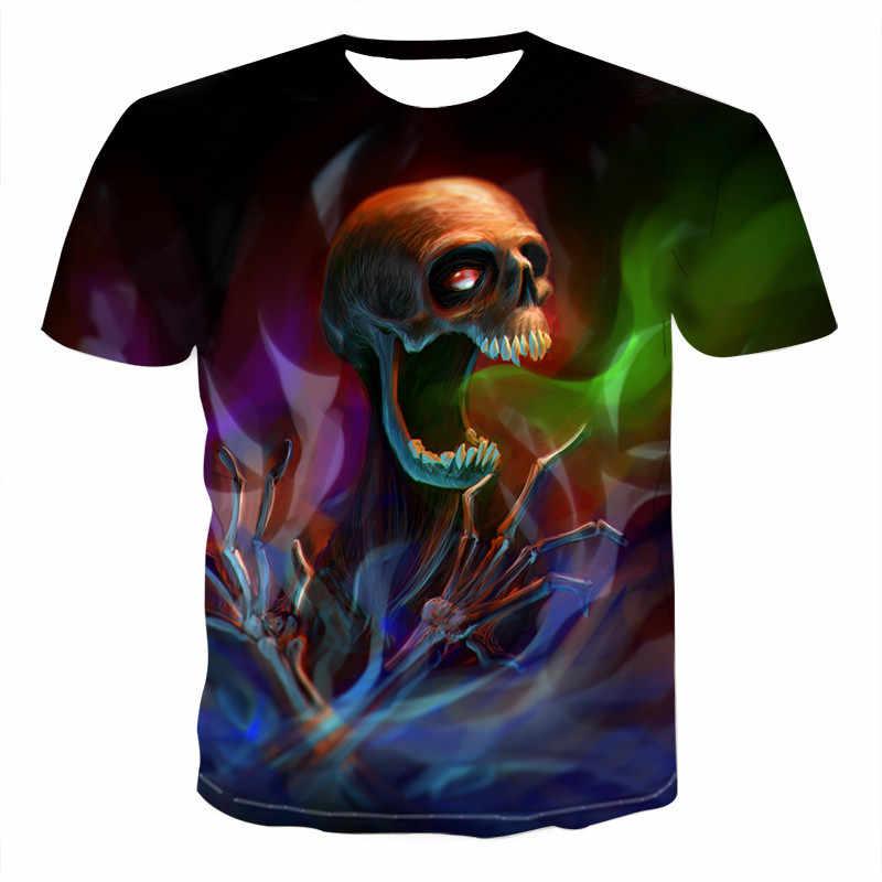 2020 رجل الجمجمة تي شيرت الشرير نمط الجمجمة 3Dt-قمصان الرجال بلايز الهيب هوب ثلاثية الأبعاد طباعة الجمجمة المعاقب تي شيرت