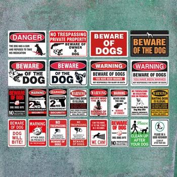 цена на Beware of Dog Sign Warning Metal Sign Guard Dog Sign Wall Decor Yard Sign No Trespassing Metal Dog Signs
