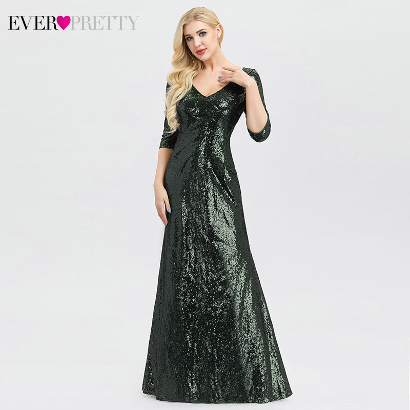Sexy Dark Green Prom Dresses Ever Pretty EP00958DG Deep V-Neck 3/4 Sleeve Sequined Sparkle Mermaid Formal Dresses Gala Jurken