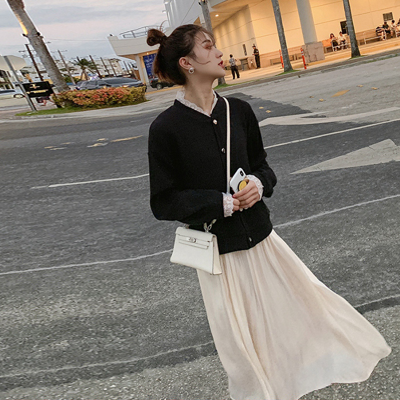 2019 Autumn New Style Online Celebrity French Retro Platycodon Grandiflorum Skirt High Cold Royal Sister-Style Very Fairy Of Wes