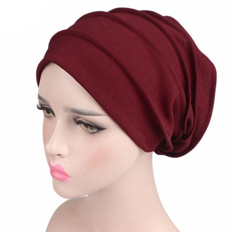 Image 3 - Fashion New Women Cotton Sleep Cap Cancer Beanie Muslim Turban  Hair Loss Chemo Hat Pleated for Lady Female 6 ColorsWomens Skullies