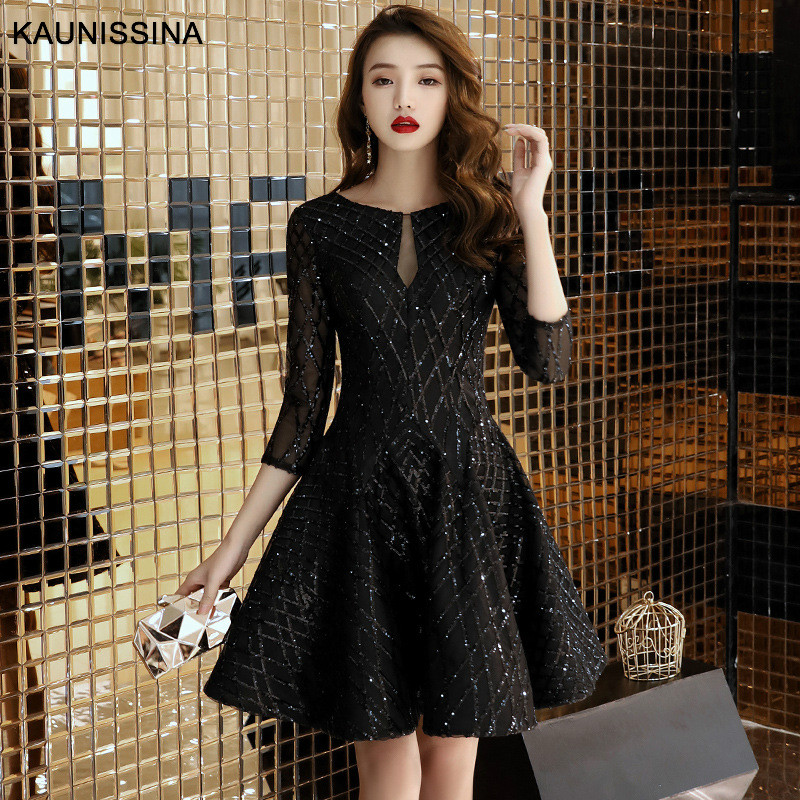 KAUNISSINA A-Line   Cocktail     Dress   Sequins Black Party Gown 3/4 Sleeve Short Banquet Party Prom   Dresses   Homecoming Robes
