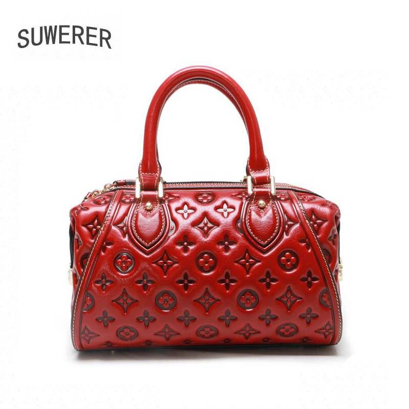 Genuine Leather handbag 2019 new leather shoulder bag Vintage fashion leather embossed handbag Pillow bag