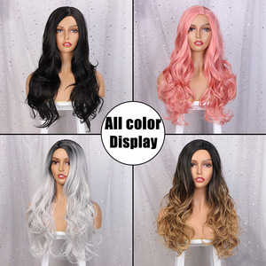 Image 3 - AISI QUEENS Long Wavy Synthetic Wig Red Wig for Women Cosplay Black Pink Wigs Partial Division Natural High Temperature Fiber