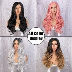 Image 3 - AISI كوينز طويل مموج شعر مستعار اصطناعي شعر مستعار أحمر للنساء تأثيري أسود وردي الباروكات جزئية تقسيم الطبيعية ارتفاع درجة الحرارة الألياف