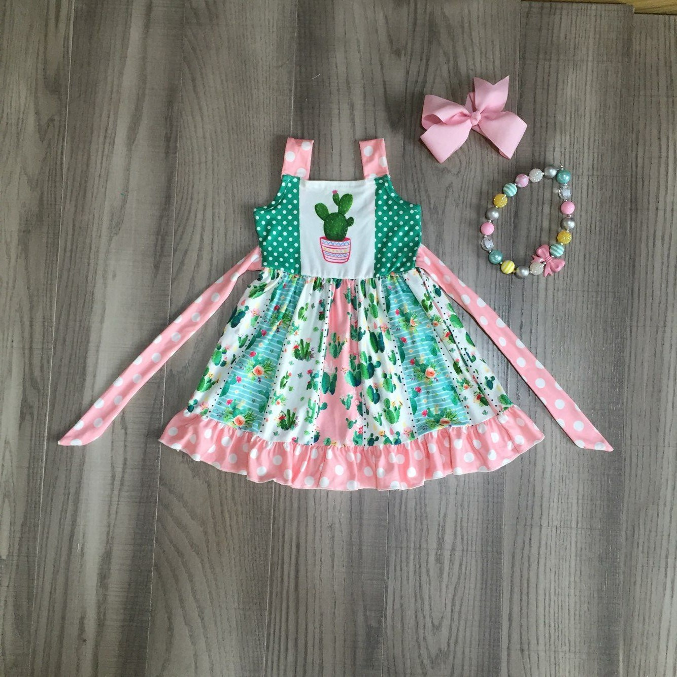 Baby Girls Clothes Girls Summer Twirl Dress Girl Cactus Dress Princess Dress With Accessories