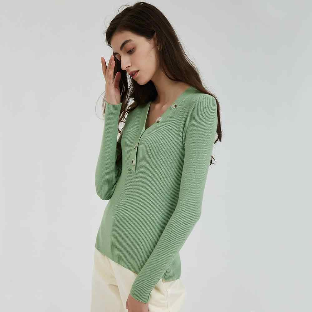 Wixra Women Sweater 2019 Stylish Color Female V Neck Solid Warm Ladies Knitted Sweaters Pull Jumpers Autumn Spring