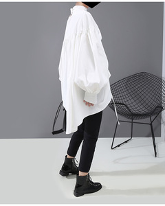 Image 5 - [EAM] Women Back Long Drawstring Big Size Blouse New Satnd Collar Long Sleeve Loose Fit Shirt Fashion Spring Autumn 2020 1N242