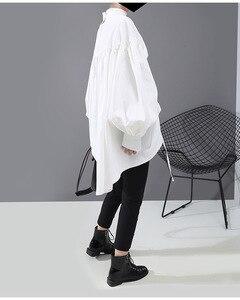 Image 5 - [EAM] blusa de talla grande con cordón largo en la espalda para mujer, camisa holgada de manga larga con cuello de satélite, a la moda, para primavera y otoño, 2020, 1N242