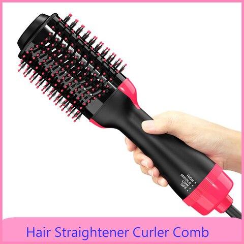 2 em 1 um passo secador de cabelo escova de ar quente alisador cabelo curler