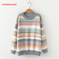 VEVEFHUANG Women Striped Loose Sweaters Autumn Winter Long sleeved Rainbow Knited Jumpers Casual Chic Sweaters Femme Pullover