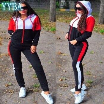 Femmes survêtement deux pièces ensemble décontracté vêtements de Sport 2020 fermeture éclair à capuche femme Joggers salon vêtements de Sport de mode grande taille