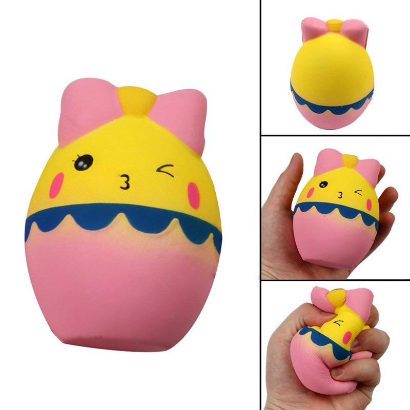 Squishy Toy, Jumbo Squeeze Cartoon Egg Cream Scented Slow Rising Stress Relief Toys Phone Charm Gifts For Kids And Adults (Carto