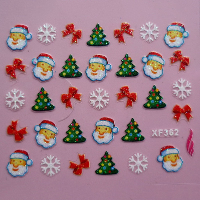 3D  Santa / Christmas / Elk / Snowman Design Nail Sticker Christmas Stickers New Year Nail Decals Wraps Manicure Decoration