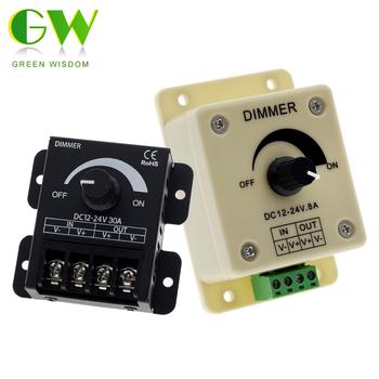 Przełącznik LED ze ściemniaczem DC 12V 24V 8A 30A regulowana jasność ręcznie obrotowy przełącznik ściemniacza zasilacz do taśmy LED tanie i dobre opinie Green Wisdom CN (pochodzenie) Switch Dimmer Controller 12V Adjustable Brightness Controller LED Dimmer 12V 24V Plastic + Metal